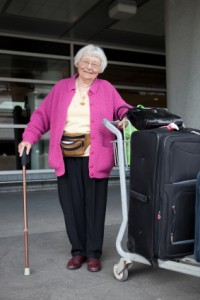 traveling with seniors is easier with rolling luggage