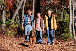 three generations of men enjoy the outdoors with their dog while they contemplate Maine Senior Guide advertising
